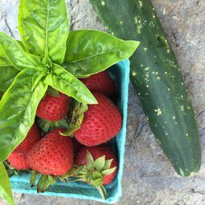 strawberry, cuke, basil